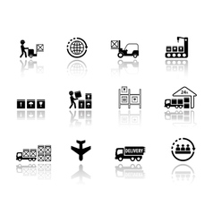 Set logistic icons with mirror reflection vector