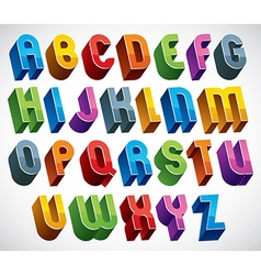 3d font colorful glossy letters vector