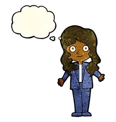 Cartoon friendly business woman with thought vector
