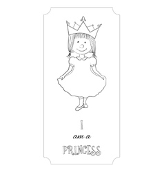 Kid cartoon princess outline card for coloring vector