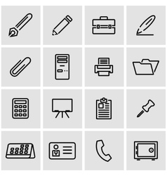 Line office icon set vector