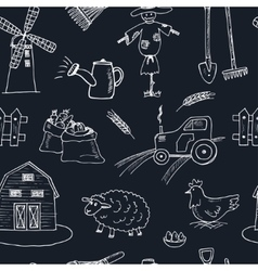 Seamless pattern with Organic farm hand drawn vector image