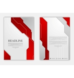 Abstract red grey geometric tech flyer design vector