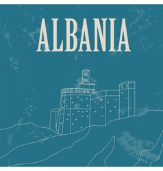 Albania landmarks retro styled image vector