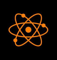 Atom sign orange icon on black vector