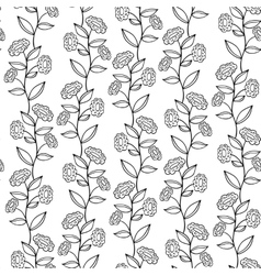 black and white seamless pattern with flowers vector image vector image