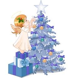 Christmas cute angel vector image vector image