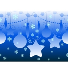 Christmas seamless horizontal blue pattern vector image