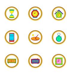 clock icons set cartoon style vector image