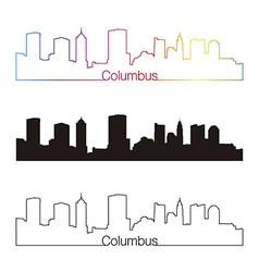 Columbus skyline linear style with rainbow vector
