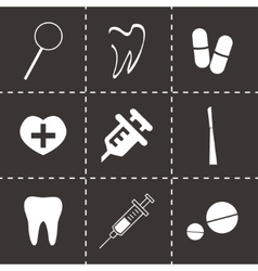 dental icons set vector image vector image
