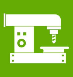 Drilling machine icon green vector