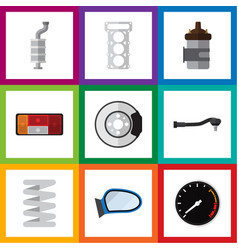 Flat icon auto set of input technology metal vector