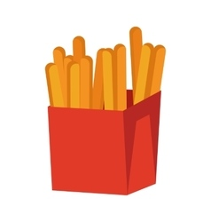 French fries isolated on white crispy potatoes vector