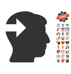 Head plug-in arrow icon with dating bonus vector
