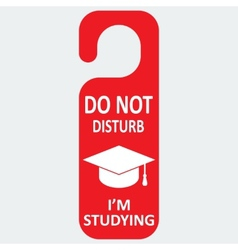 Hotel tag do not disturb with studing cap vector