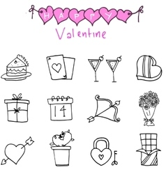 Icon of valentine day with hand draw vector