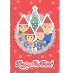 Image of family in round frame on snowflakes vector image