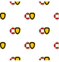 Lifebuoy and shield pattern flat vector