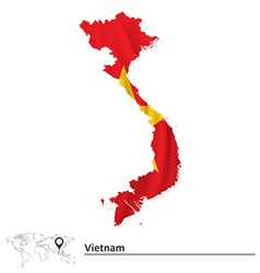 Map of vietnam with flag vector