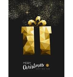 Merry christmas happy new year gold gift triangle vector image