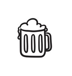 Mug of beer sketch icon vector