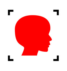 people head sign red icon inside black vector image