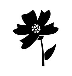 Periwinkle flower decoration silhouette vector