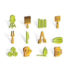picnic and grill icons vector image vector image