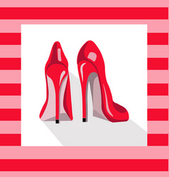 Red sexy shoes on pink background vector