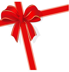 ribbon and bow on white vector image vector image