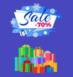 sale -70 poster label gifts vector image