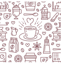 Seamless pattern of coffee background vector
