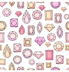 Seamless pattern with diamonds jem stones vector image vector image