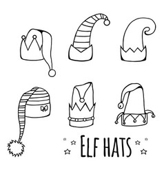 set of cartoon black and white elf hats vector image vector image