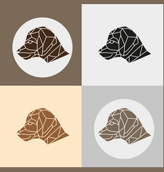 set of little beagle dog head vector image vector image