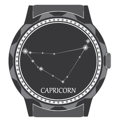 The watch dial with the zodiac sign Capricorn vector image vector image