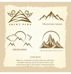 Vintage poster with mountain logo design vector