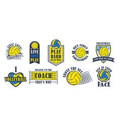 volleyball logo set vector image