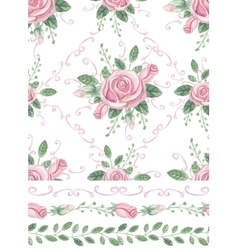 Watercolor pink roses bouquet seamles pattern vector image vector image