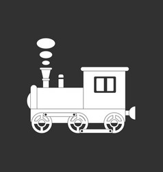 White icon on black background kids train vector