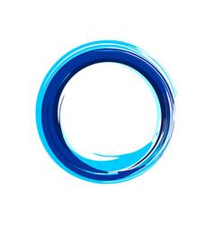 Zen symbol abstract blue ink brush vector