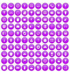 100 calories icons set purple vector