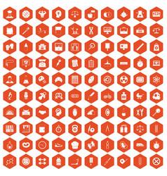 100 libra icons hexagon orange vector