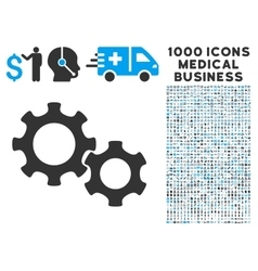 Gears icon with 1000 medical business pictograms vector