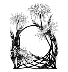 Frame with chrysanthemum vector
