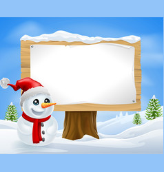 cute christmas snowman and sign vector image