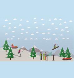 downhill ski track in flat vector image