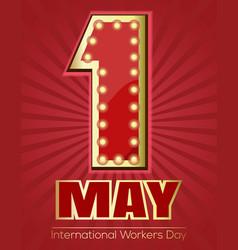 international workers day design retro neon sign vector image
