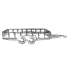 Dump trailer cargo transport shipping sketch vector